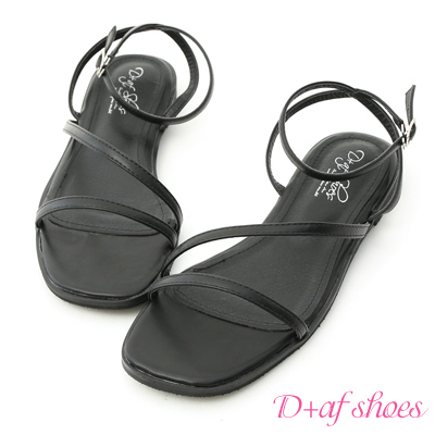 D+AF 完美品味.一字斜帶繫踝平底涼鞋*黑