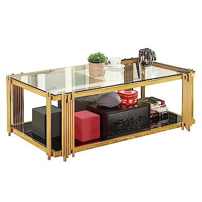 文創集 韋恩輕奢風4.3尺玻璃大茶几-120x60x44cm免組