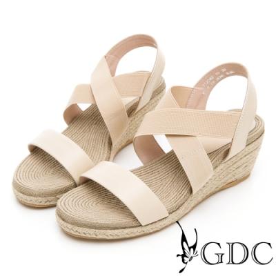 GDC-沙灘女孩真皮交叉草編春夏楔型涼鞋-米色