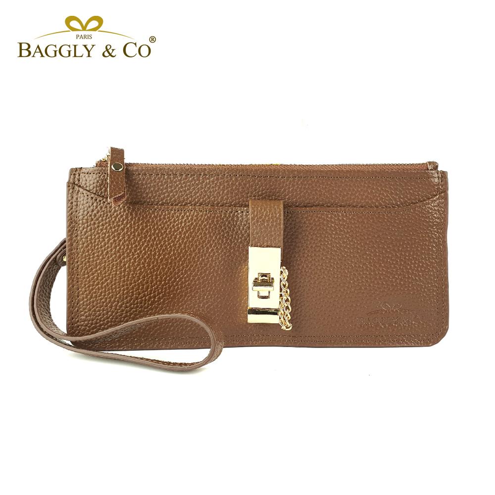 【BAGGLY&CO】 B&C真皮手拿鏈帶轉釦拉鏈長夾(咖啡色)