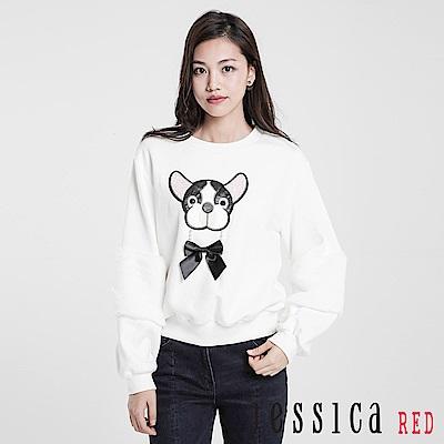 JESSICA RED - 童趣玩味蝴蝶結造型上衣(白)
