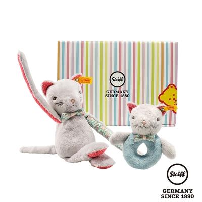 STEIFF德國金耳釦泰迪熊  手搖鈴+玩偶  小花貓咪寶寶 (寶寶禮盒)