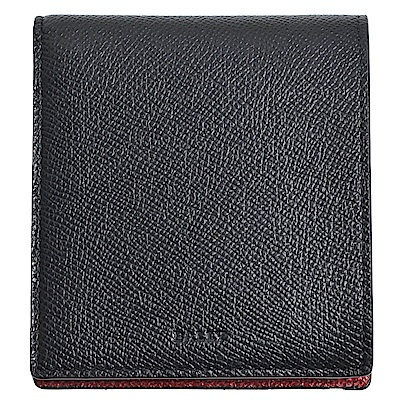 BALLY BOLLEN 義大利製品牌LOGO壓印撞色配防刮牛皮八卡短夾(黑/紅)