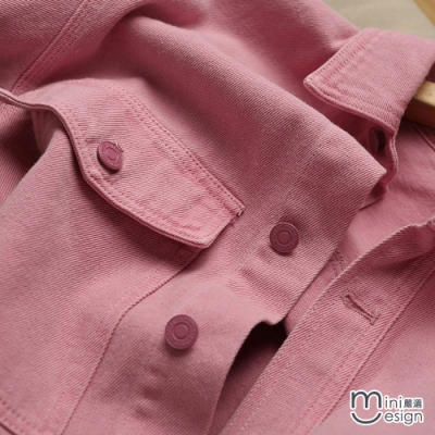 Mini嚴選- 夢幻粉落肩寬鬆牛仔外套