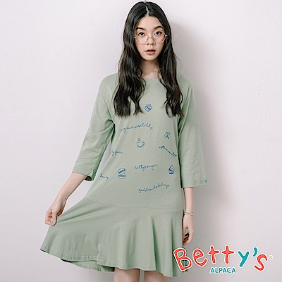 betty's貝蒂思 下午茶風刺繡七分袖洋裝(淺綠)