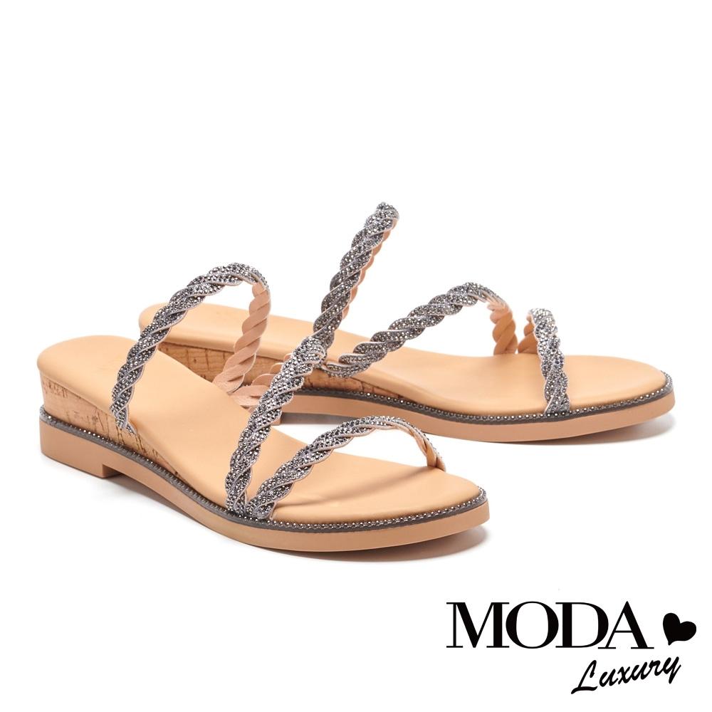 拖鞋 MODA Luxury 異國度假風金蔥麻花繫帶楔型拖鞋-古銅