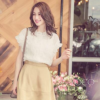 東京著衣-yoco 好感女孩點點蕾絲花邊層次上衣-S.M.L(共二色)