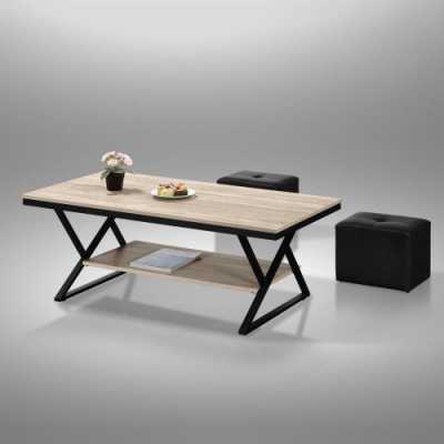 MUNA TB011型4尺鐵架茶几(共三色)(含小椅X2) 120X60X46cm