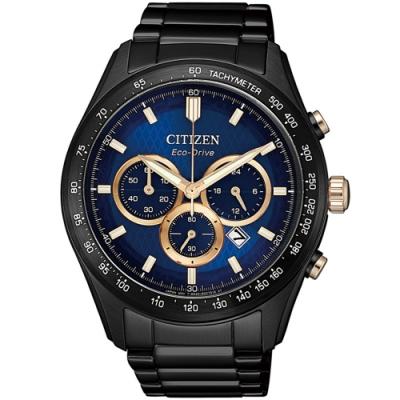 CITIZEN 星辰 光動能三眼計時手錶(CA4458-88L)-藍