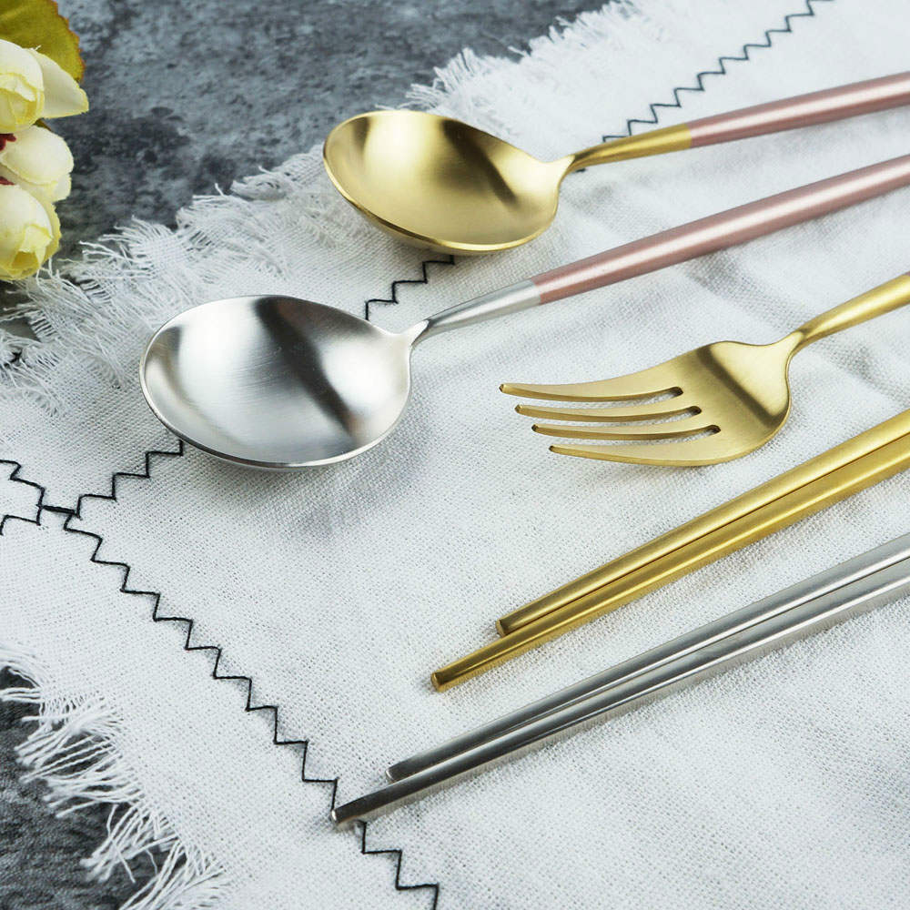 Caldo卡朵生活 玫瑰光影不鏽鋼環保餐具組-2色任選