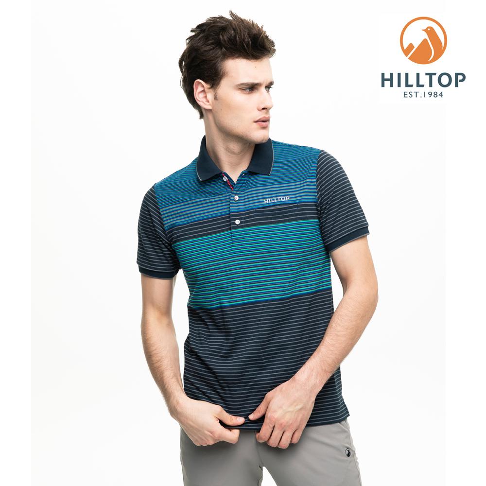 【hilltop山頂鳥】男款吸濕快乾抗菌彈性POLO衫S14MG4黑藍莓/明亮白