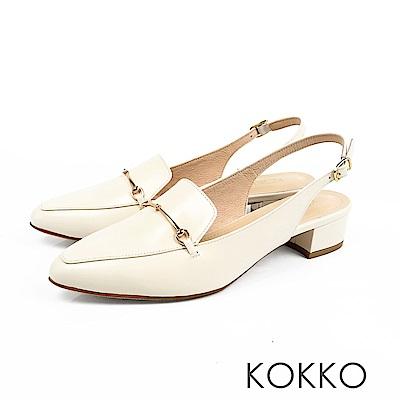 KOKKO - 迷濛眼神真皮後拉帶尖頭粗跟鞋-優雅白