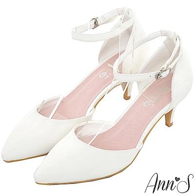 Ann'S優雅女伶-性感繫帶尖頭低跟鞋-白