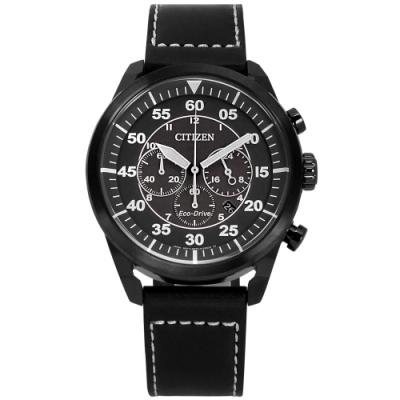 CITIZEN 光動能 三眼計時 日期 小牛皮手錶(CA4215-21H)-黑色/45mm
