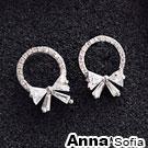AnnaSofia 空圈綴晶蝶結 925純銀耳針耳環(銀系)