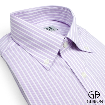 GIBBON 輕商務修身條紋長袖襯衫‧淺紫條