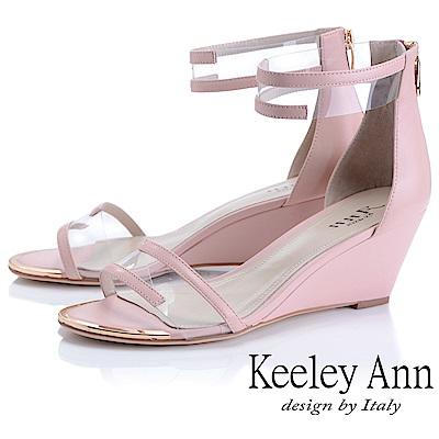 Keeley Ann時尚膠片 一字帶金屬圓楦楔型涼鞋(粉紅色-Ann系列)