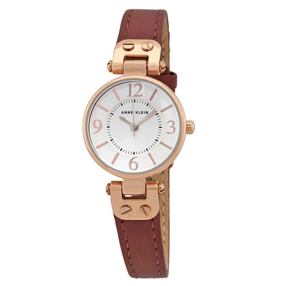 Anne Klein 大馬士革玫瑰情緣精緻小牛皮腕錶-玫瑰金x26mm @ Y!購物