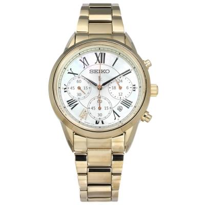 SEIKO 精工 LUKIA 太陽能 鑽石 不鏽鋼手錶-銀白x鍍香檳金/36mm
