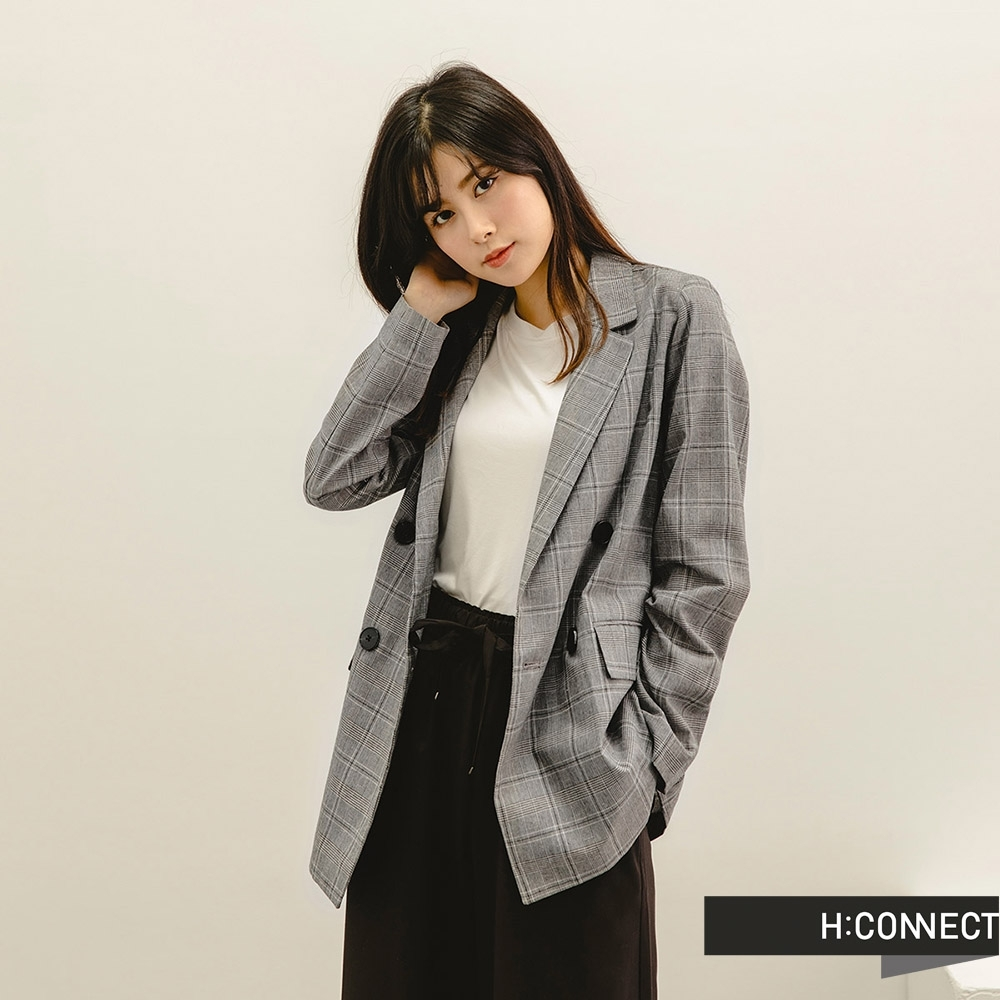 H:CONNECT 韓國品牌 女裝 -俐落棉麻格紋西裝外套-黑色