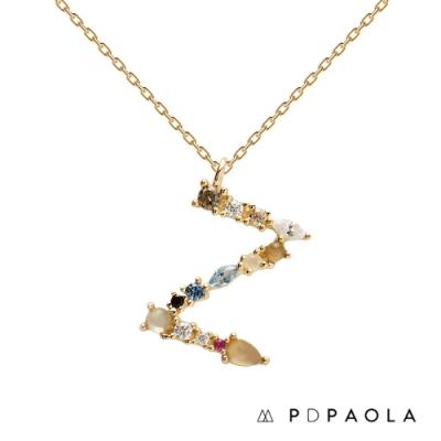 PD PAOLA 西班牙輕奢時尚品牌 字母Z 彩鑽寶石項鍊