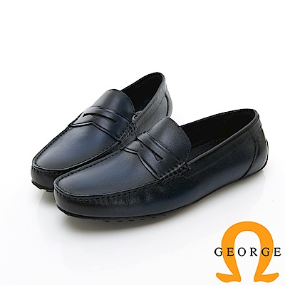 【GEORGE 喬治皮鞋】Amber 都會時尚 簡約直套式紳士皮鞋-藍色