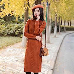 La Belleza高領套頭菱格麻花側大開叉包心紗長版針織洋裝