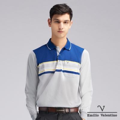 Emilio Valentino范倫鐵諾繽紛時尚橫紋POLO衫_灰/藍(66-9V2161)