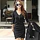 正韓 純色V領長袖交疊短裙洋裝 (黑色)-N.C21 product thumbnail 1