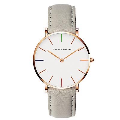 HANNAH MARTIN 彩色刻度皮帶腕錶-灰帶x36mm(HM3690-B36-FQ)