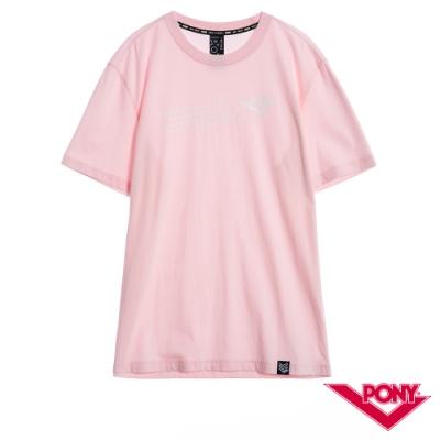 【PONY】純棉短袖上衣T恤 男款 粉