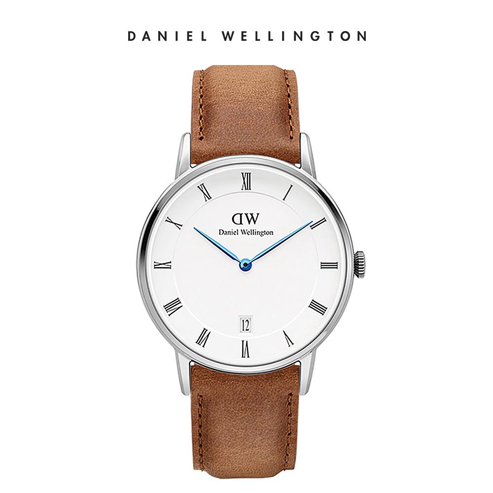 DW 手錶 官方旗艦店 34mm銀框 Dapper 淺棕真皮皮革錶