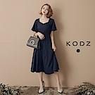 東京著衣-KODZ 方領圓裙短袖洋裝-S.M.L(共一色)