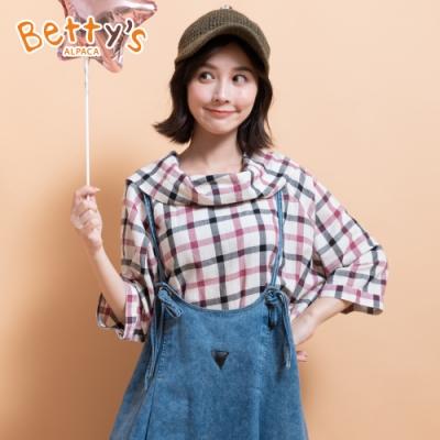 betty's貝蒂思 格布翻領造型上衣(紅色)