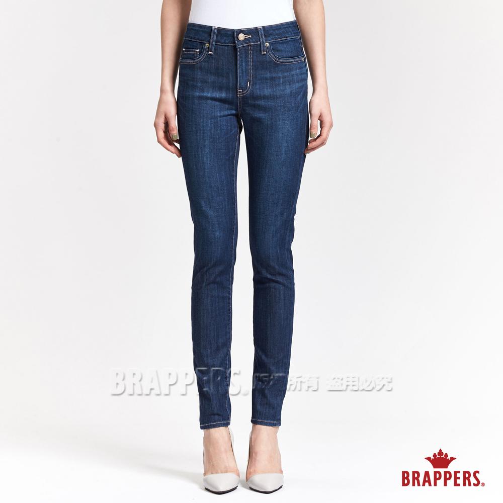 BRAPPERS 女款 新美腳ROYAL系列-女用彈性粉色鑲鑽窄管褲-藍