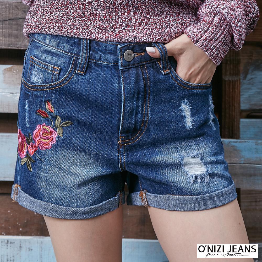 onizi反摺繡花牛仔短褲-女-深藍