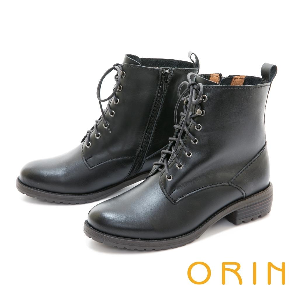 ORIN 中性帥氣真皮綁帶 女 短靴 黑色