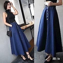 Jilli-ko 金屬排釦高腰大襬A字牛仔裙- 深藍/淺藍