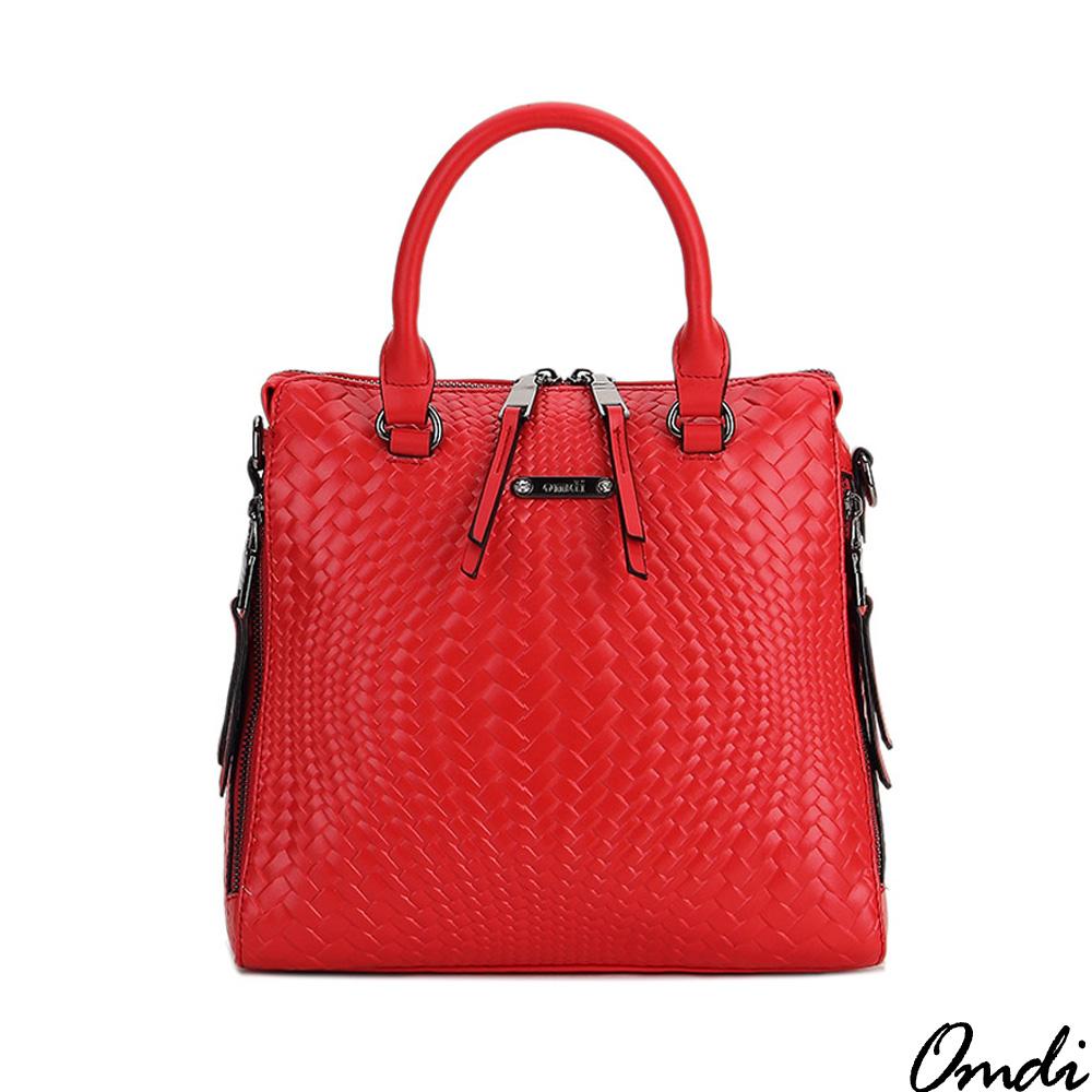 Omdi 簡約細膩編織手提包(紅色)