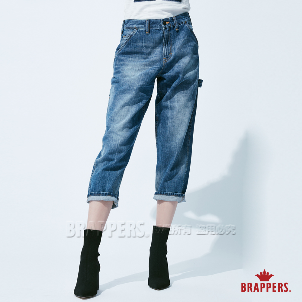 BRAPPERS 女款 Boy friend系列-中寬版八分工作褲-藍 @ Y!購物