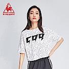le coq sportif 法國公雞牌COQ系列閃電印花短袖T恤 女-白