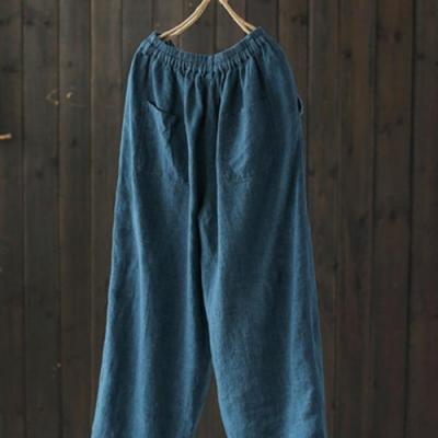 毛邊拼接亞麻休閒寬鬆棉麻九分褲-設計所在
