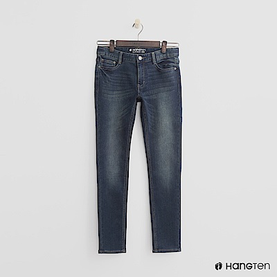 Hang Ten - 女裝 -簡約刷色牛仔褲-藍