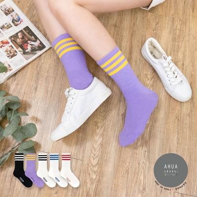 阿華有事嗎  韓國襪子 百搭三條紋純色中筒襪 韓妞必備 正韓百搭純棉襪