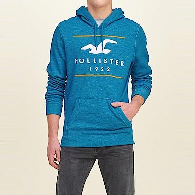 海鷗 Hollister 經典大海鷗電繡文字連帽T恤-麻花藍色