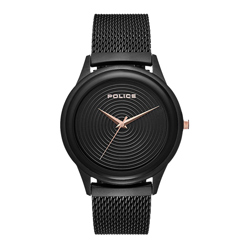 POLICE螺旋黑時尚米蘭腕錶-黑(15524JSB-02MM)/44mm