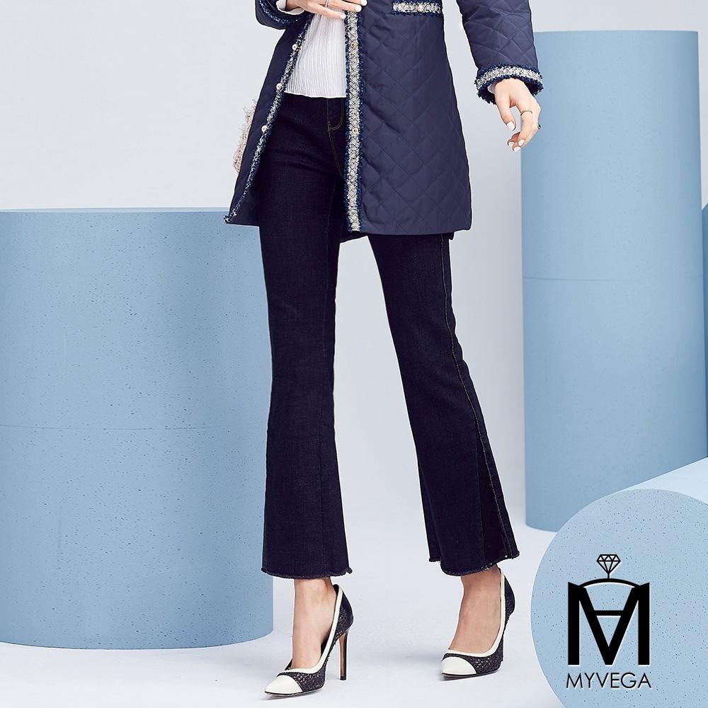 MYVEGA麥雪爾 MA高含棉亮片小喇叭牛仔褲-深藍