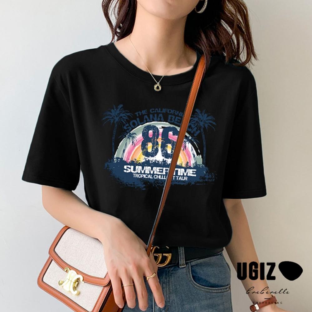 UGIZ-修身甜美圓領英文字母造型上衣-2色(M-XL)
