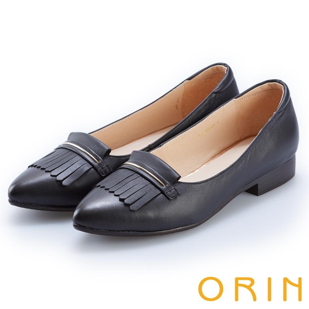 ORIN 典雅輕柔 瀏海造型牛皮微尖低跟鞋-黑色
