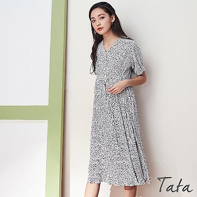 小方點印花百褶洋裝(附綁帶) 共二色 TATA